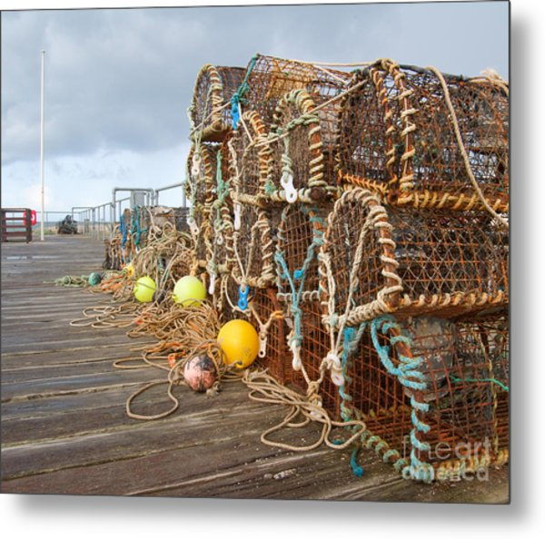 A Selection Of Lobster Pots On The Metal Print
