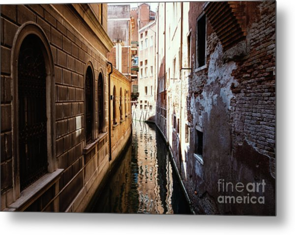A Shadow In The Venetian Noon Narrow Canal Metal Print