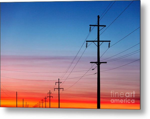 A Silhouette Of High Voltage Power Metal Print