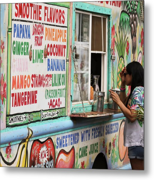 A Smoothie Truck At A Roadside Fruit Stand, Maui, Hawaii Metal Print