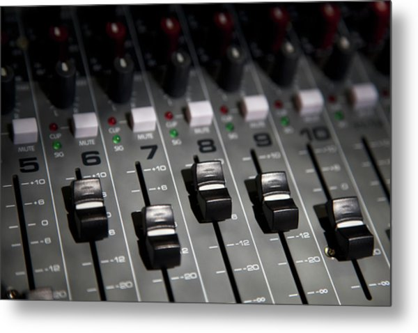 A Sound Mixing Board, Close-up, Full Metal Print by Tobias Titz