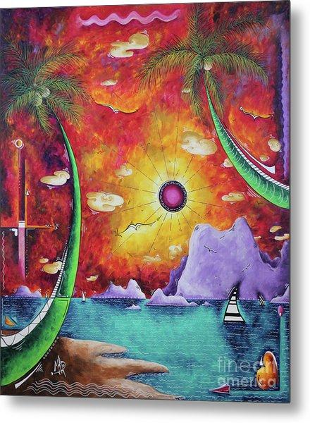 A Stunning Tropical Surrealist Sunset Ocean Painting A World Awaits By Madart Metal Print