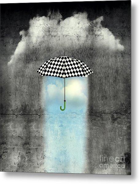 A Surreal Image Of An Umbrella Metal Print