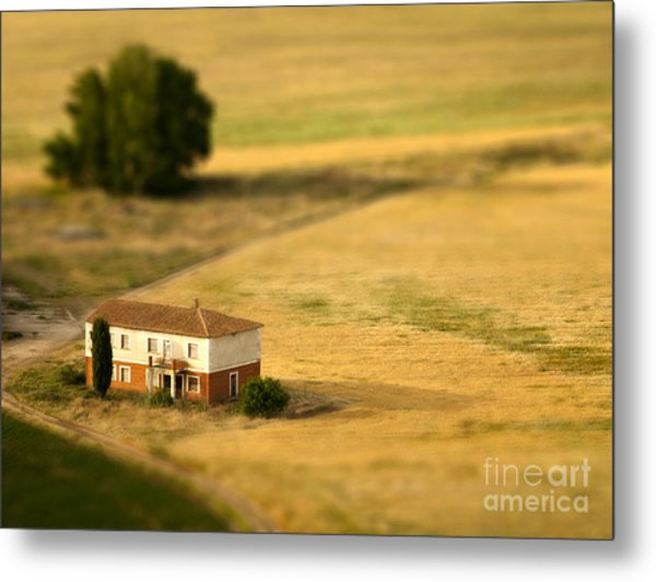 A Tilt Shifted Country House On A Metal Print
