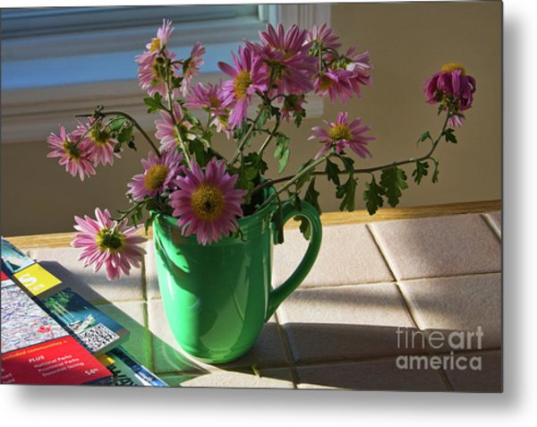Metal Print featuring the photograph A Traveler Still Life With Autumn Flowers by Tatiana Travelways