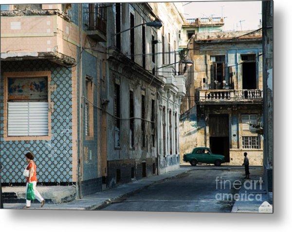 A View Of Crumbling Buildings In Havana Metal Print
