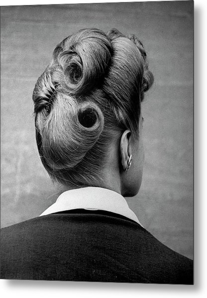 A Woman Showing Her Fashionable Upsweepi Metal Print