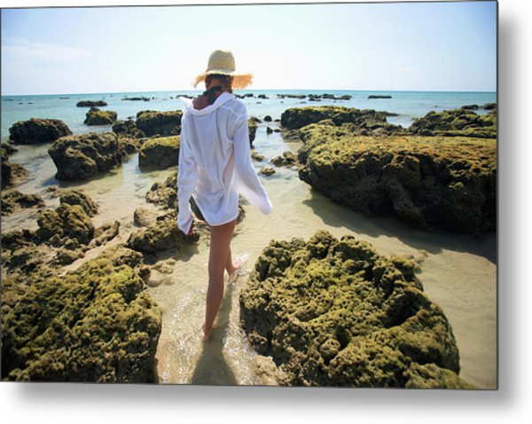 A Woman Tourist Enjoys The Sunshine On Metal Print
