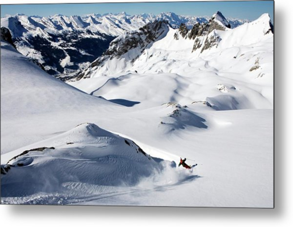 A Young Skier, A Freerider Makes A Turn Metal Print