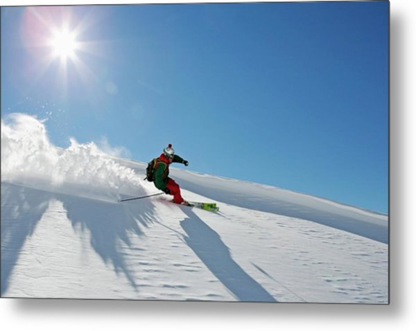 A Young Skier, A Freerider Making A Metal Print