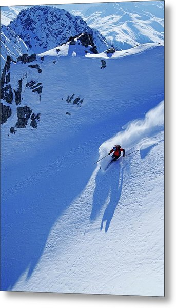 A Young Skier, A Freerider Skiing In Metal Print