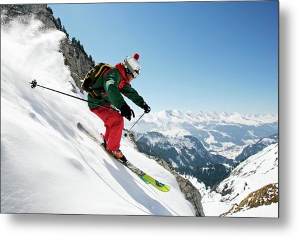 A Young Skier, A Freerider Skis Down A Metal Print
