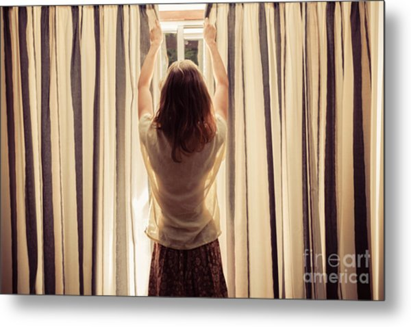 A Young Woman Is Opening The Curtains Metal Print