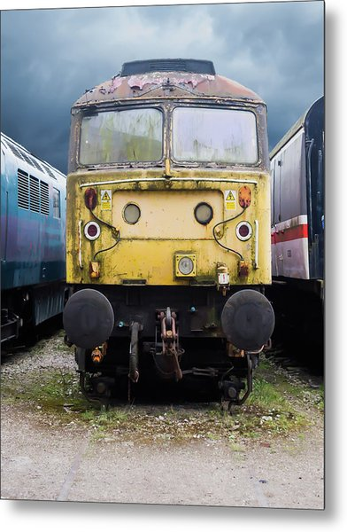Abandoned Yellow Train Metal Print
