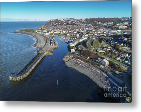 Aberystwyth Harbour From The Air In Winter Metal Print