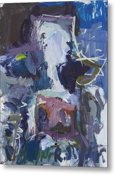 Abstract Blue Cow Metal Print