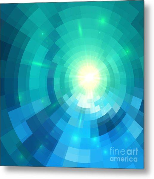Abstract Blue Shining Circle Tunnel Metal Print