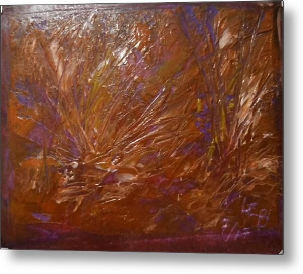 Abstract Brown Feathers Metal Print