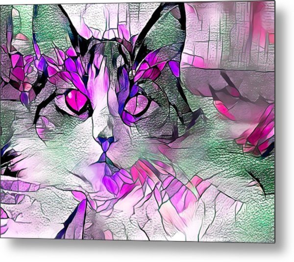 Abstract Calico Cat Purple Glass Metal Print