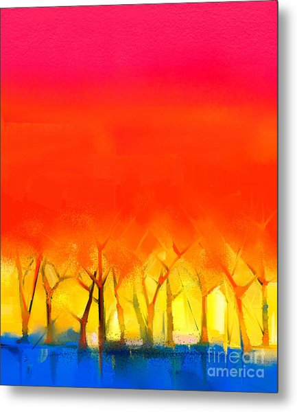 Abstract Colorful Oil Painting Metal Print
