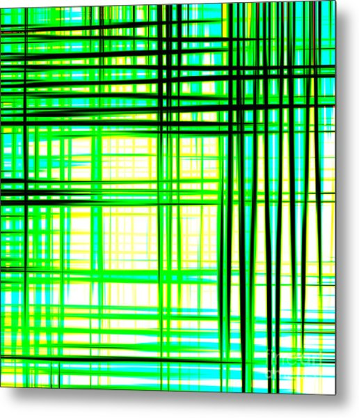 Abstract Design With Lines Squares In Green Color Waves - Pl409 Metal Print