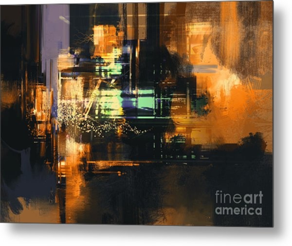 Abstract Digital Painting Of Textured Metal Print