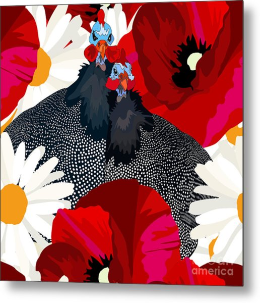 Abstract Draw Rooster Hen, Floral Metal Print