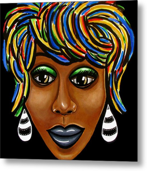 Abstract Art Black Woman Retro Pop Art Painting- Ai P. Nilson Metal Print
