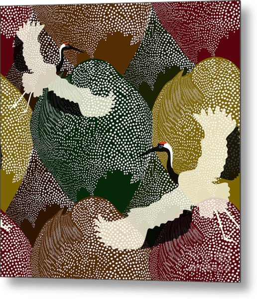 Abstract Illustration Of Two Japanese Metal Print