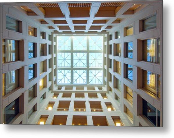 Abstract Interior Of An Atrium, New Metal Print