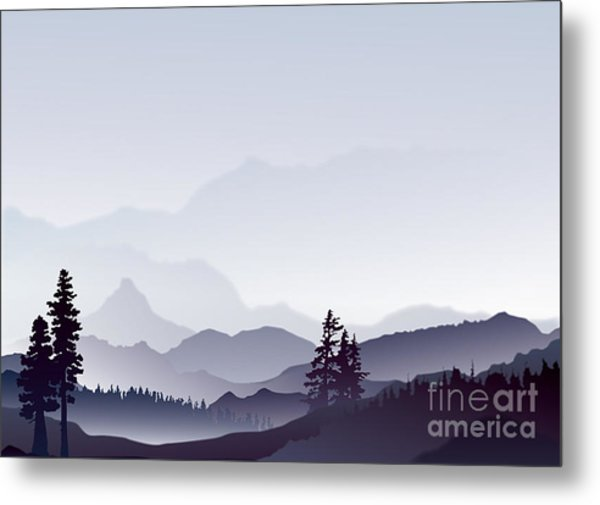 Abstract Landscape Of Blue Mountains Metal Print