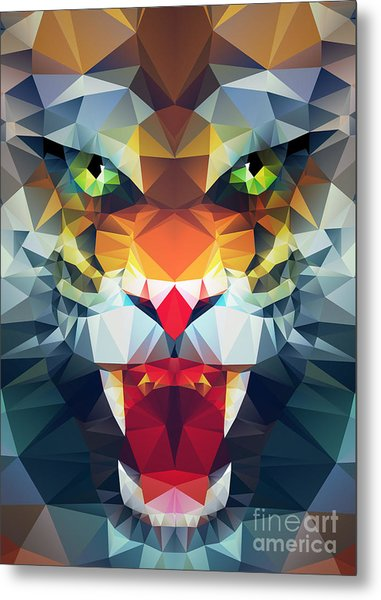 Abstract Polygonal Tiger. Geometric Metal Print