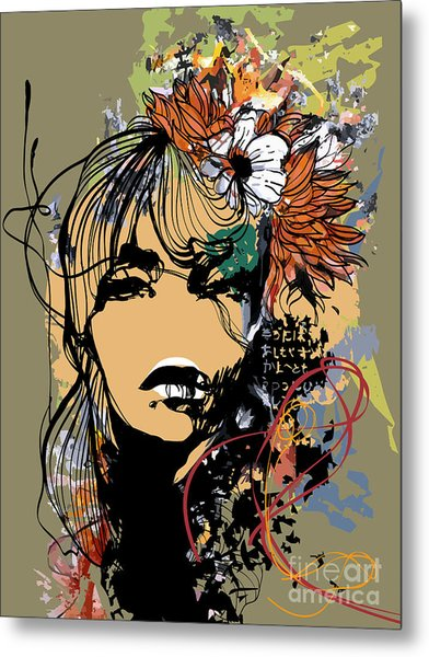 Abstract Print With Female Face Metal Print by Alisa Franz