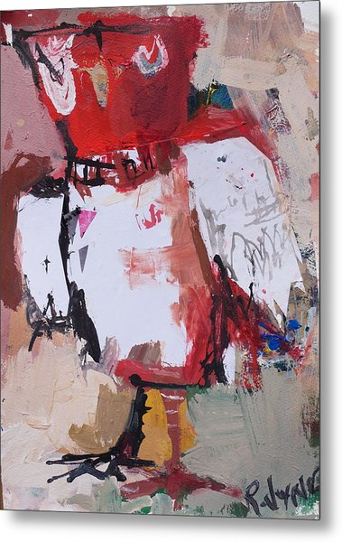 Abstract Red Owl Metal Print