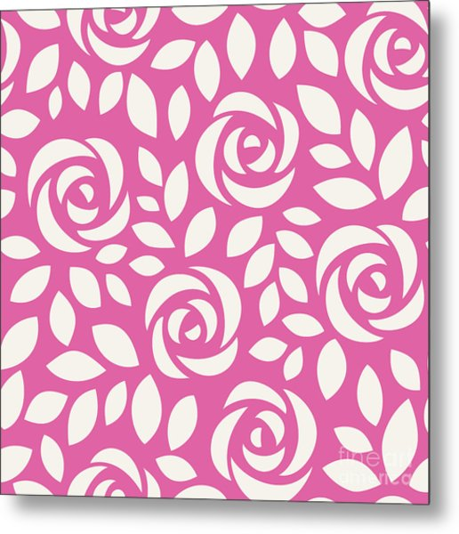 Abstract Seamless Pattern With Roses Metal Print