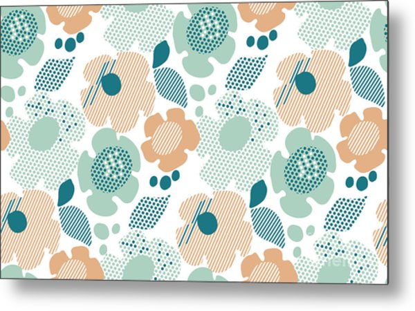 Abstract Stylized Floral. Abstract Pale Metal Print