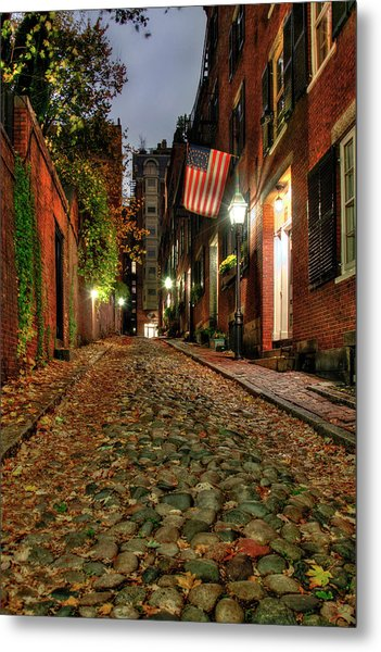 Metal Print featuring the photograph Acorn Street At Night - Boston by Joann Vitali