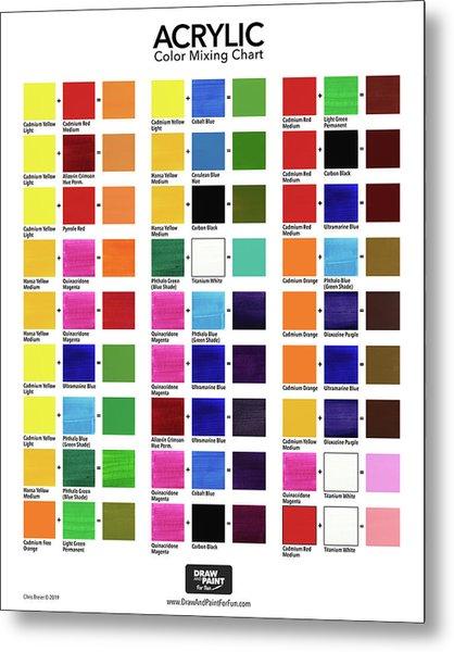 Acrylic Color Mixing Chart Metal Print by Chris Breier