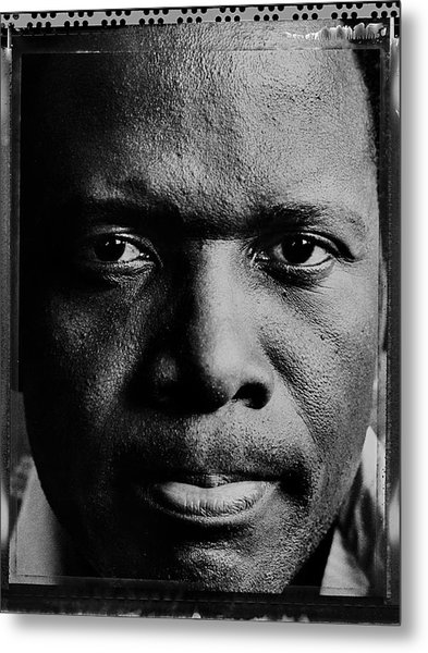 Actor Sidney Poitier Portrait Session Metal Print by George Rose