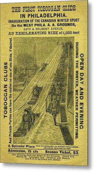 Advertisement For The First Toboggan Slide In Philadelphia Metal Print