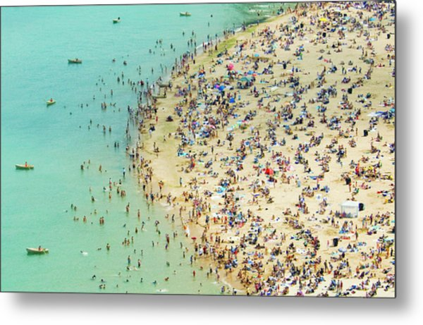 Aerial Shot Of A Crowded Beach Metal Print by By Ken Ilio