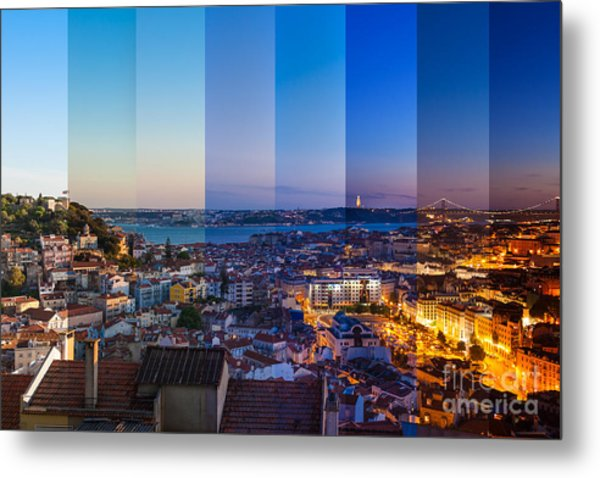 Aerial View Montage Of Lisbon Rooftop Metal Print