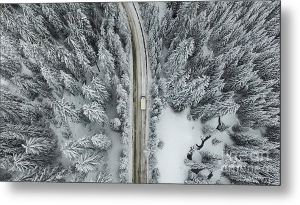Aerial View Of A Snowy Forest With High Metal Print