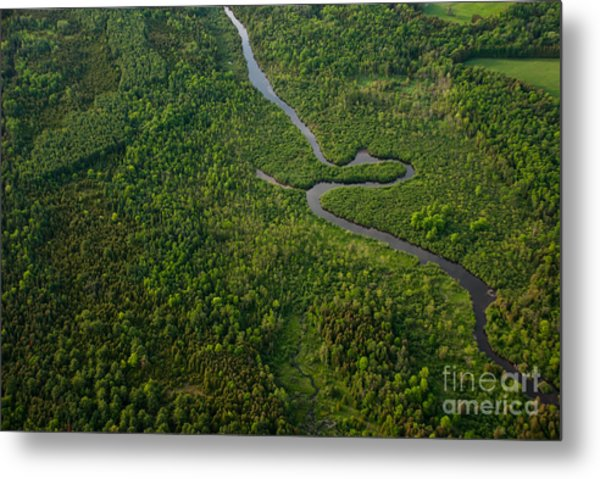 Aerial View Of A Winding River Metal Print