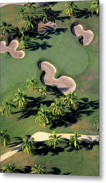 Aerial View Of Back-to-back Greens On Metal Print