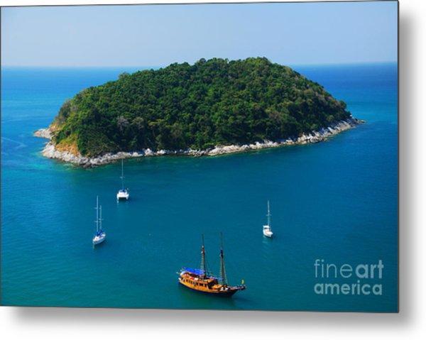 Aerial View Of Boat Near Phuket Island Metal Print