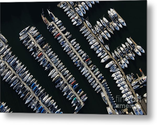Aerial View Of Boats Lined Up On The Metal Print