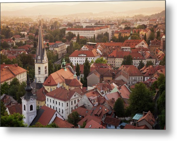 Aerial View Of Church And Rooftops Metal Print by Cultura Rf/lost Horizon Images