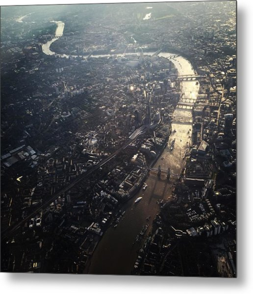 Aerial View Of Cityscape With Thames Metal Print by Caspar Schlickum / Eyeem