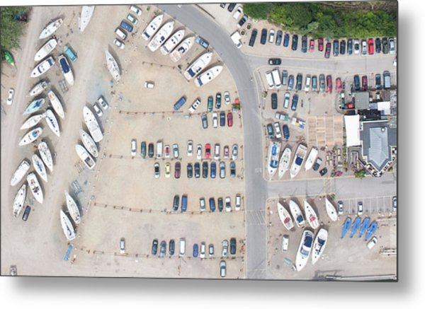 Aerial View Of Dock And Parking Lot Metal Print by Floresco Productions